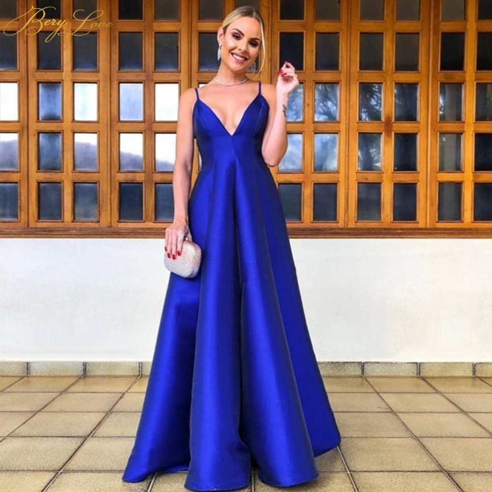 Royal Blue Evening Dress Sexy Spaghetti Straps V Neck A Line Satin Dress Open Back Long Prom Gown Formal Party Dress Puffy Skirt