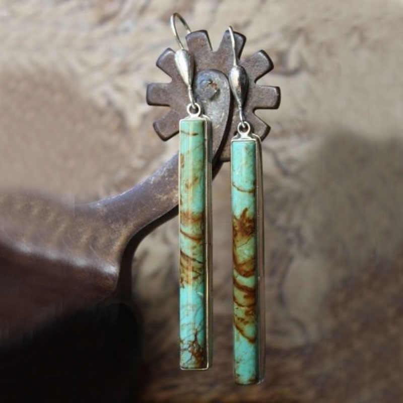 Boemia Brincos Longos Drop Para Mulheres Boho Jóias L5J635 Turquesas Étnica Azul Natural Pedra Brinco de Presente Da Jóia Do Vintage
