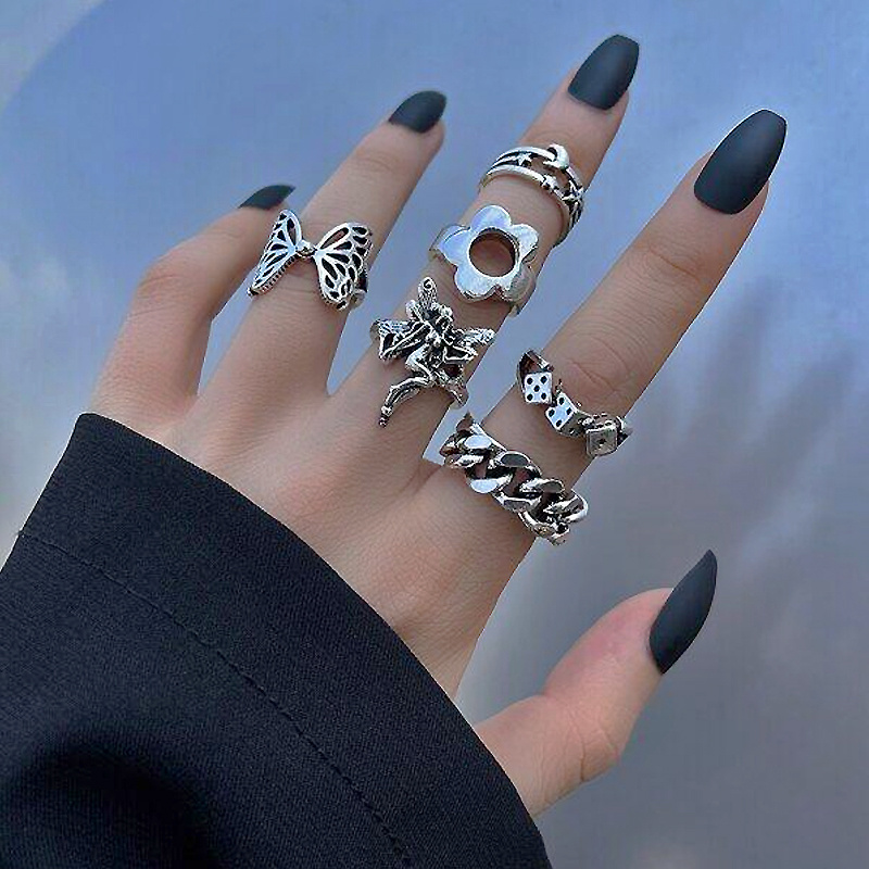 Punk Butterfly Finger Ring Set for Women Gothic Silver Color 6PCS Flower Dice Angel Wings Cupid Charms Rings Jewelry Anillos