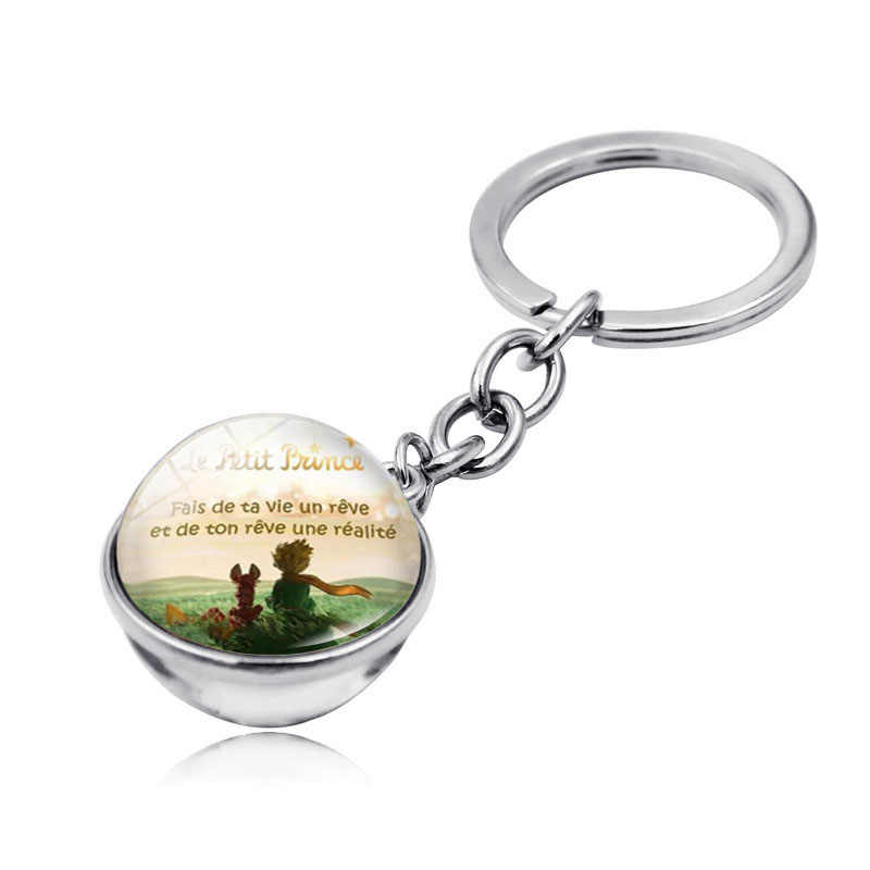 Little Prince Art Picture Double Sided Glass Ball Keychain Pendant Le Petit Prince Jewelry Metal Key Chain Holder Keyring