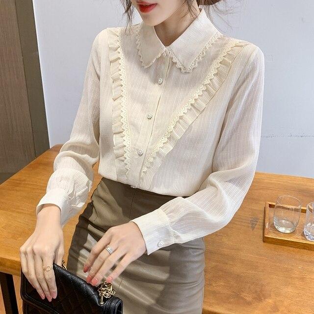 New Spring Ladies Doll Collar Shirt Long Sleeve Chiffon Shirt Fashion Lace Bottoming Shirt Ruffled Top Women Blouses 1