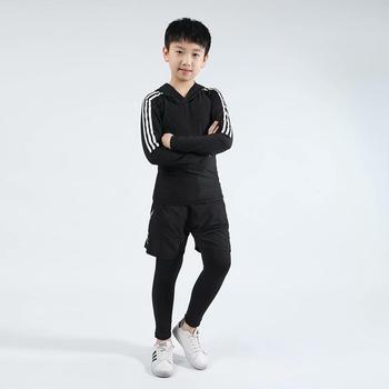 Dzieci boks przylegający zestaw Jersey + spodnie dzieci bieganie koszykówka koszulki obcisłe spodnie nastoletnia odzież sportowa MMA Rashguard tanie i dobre opinie BAOGEYANG CN (pochodzenie) Chłopcy Pasuje prawda na wymiar weź swój normalny rozmiar Stałe Szybkie suche BJ1013+1014+971