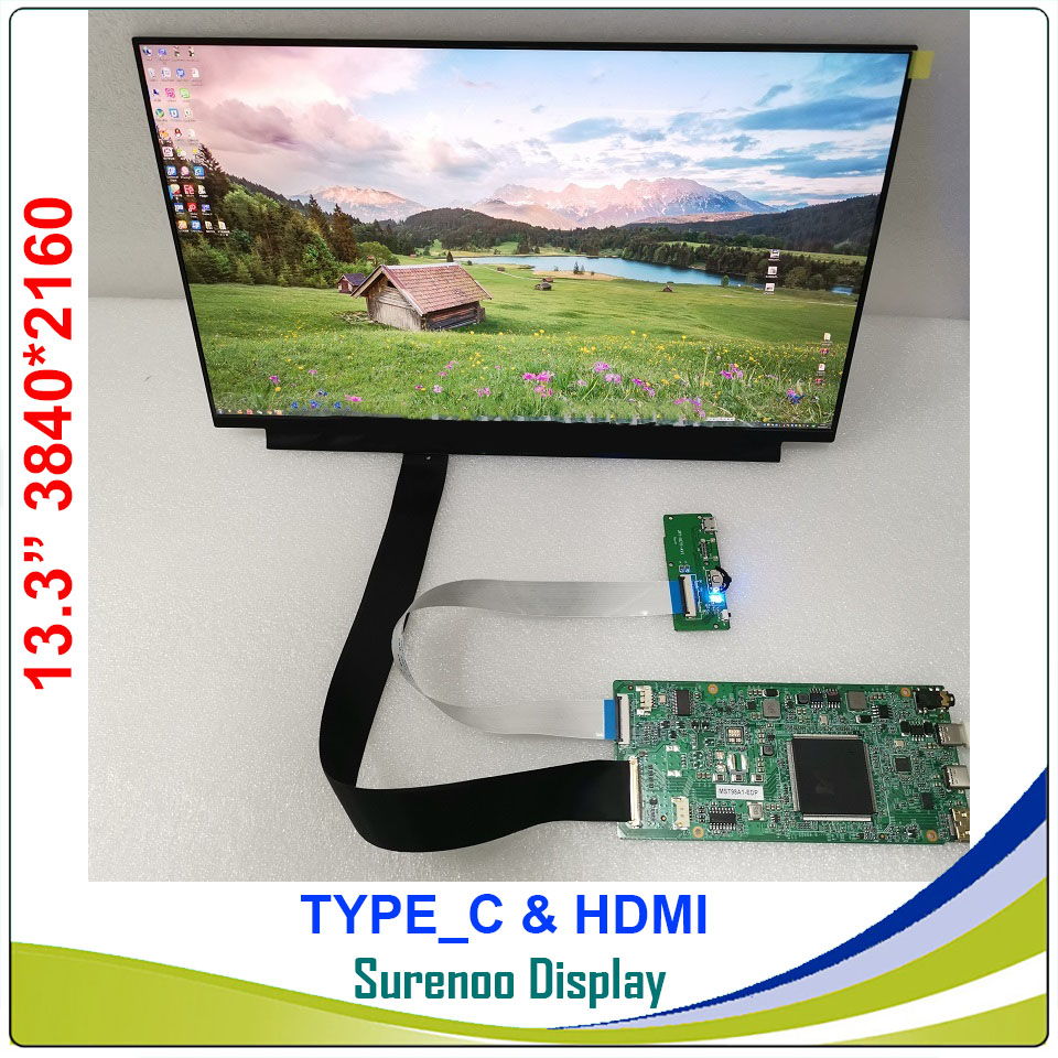 """13.3"""" Inch 3840X2160 4K LCD Module Monitor Screen Display Panel Type_C HDMI Mini for Windows & Android Cable Projection"""
