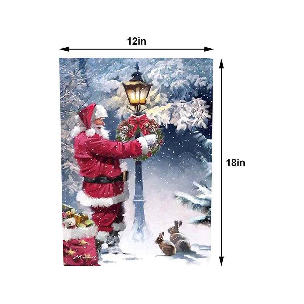 Bahçe doğal çuval bezi gülüyor Santa bahçe bayrağı, eğlenceli mutlu noel açık bahçe bahçe süslemeleri 12.5X18.5 inç