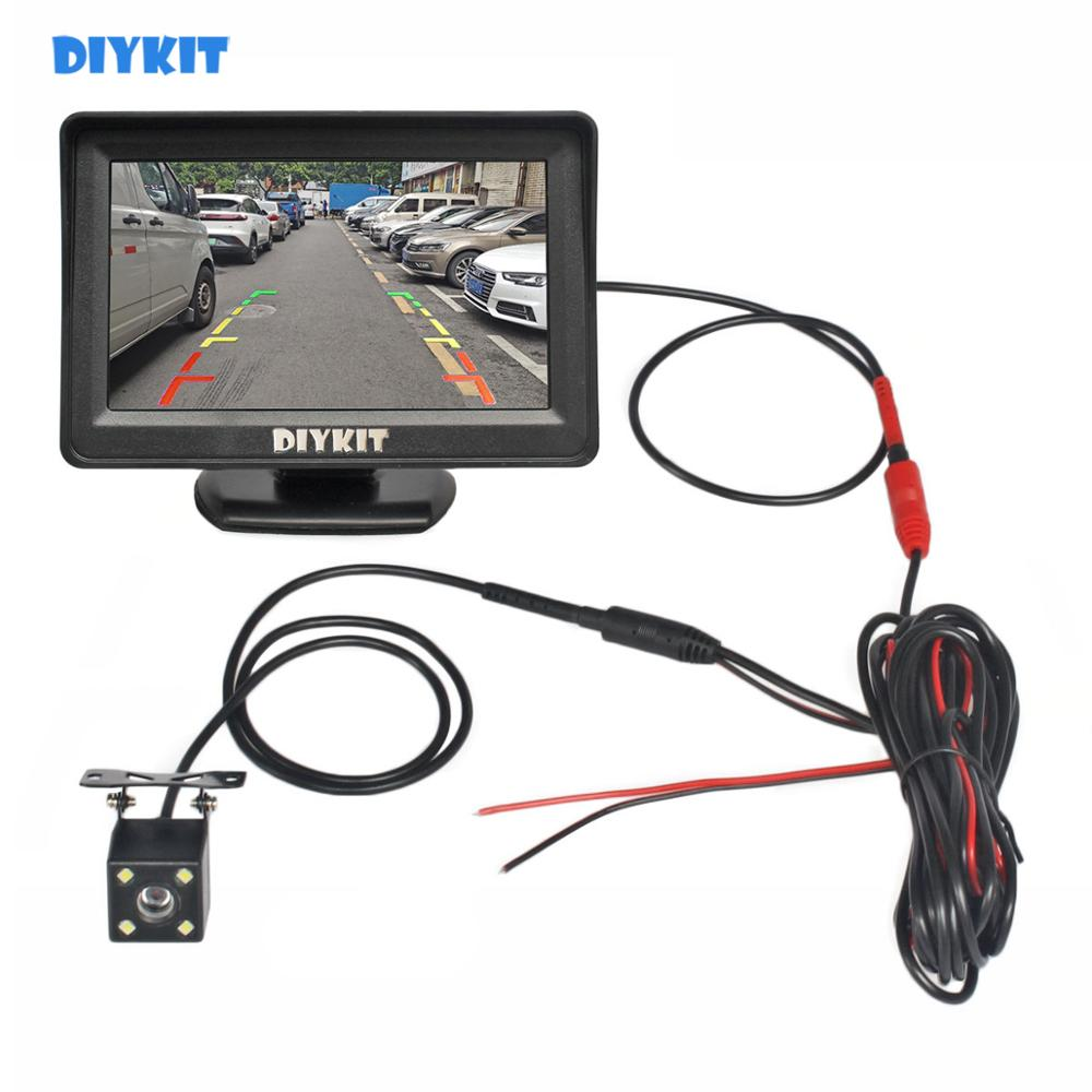 DIYKIT 4 3 Inch Car Mirror Monitor Vehicle Rear View Reverse Backup Car LED Camera Video Parking System Easy Installation