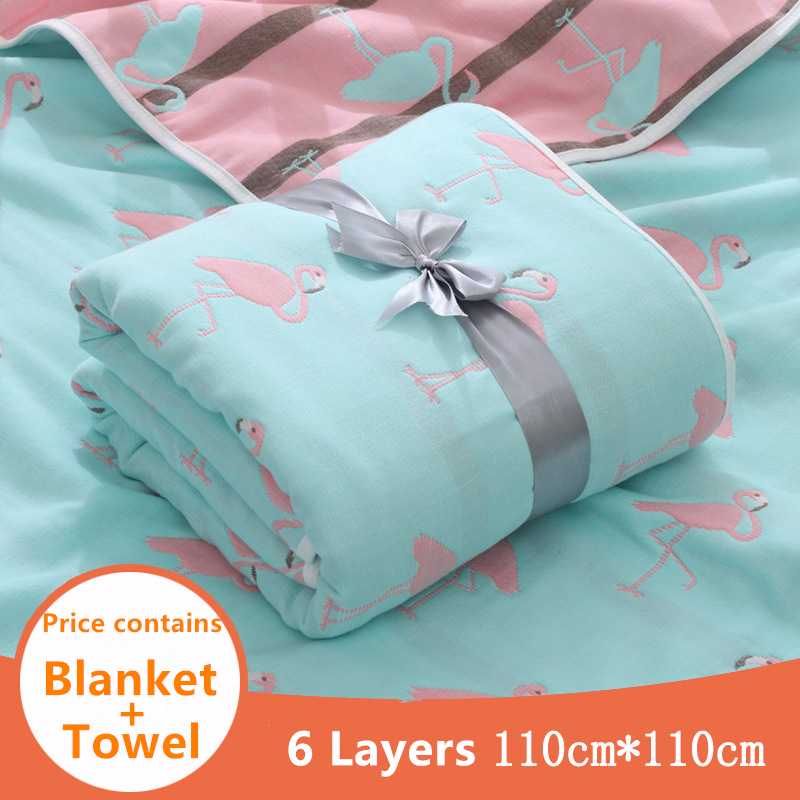 6 Layers 110X110 Super Soft Thick Cotton Muslin Blanket Swaddle Blanket Unicorn Stroller Cover Bath Towel Baby Receiving Blanket