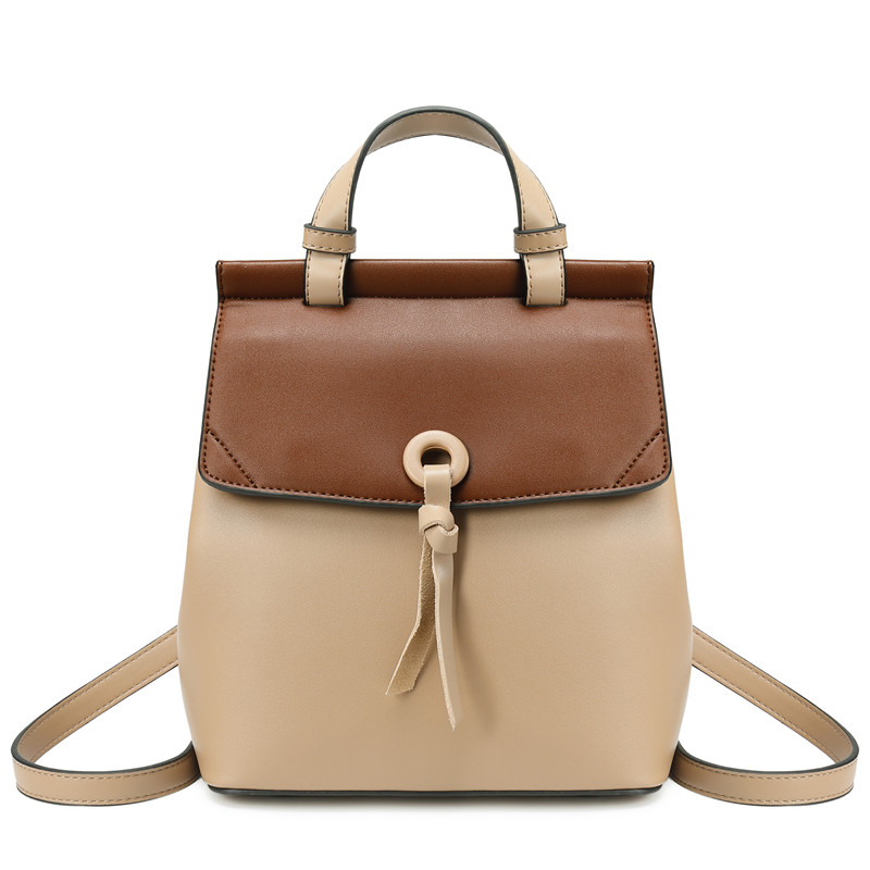 Genuine Leather Women Backpack New fashion Girl Casual Rucksacks Lady Shoulder Bag Contrast Color Travel Backpack