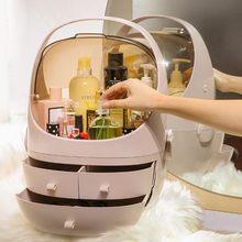 클램 쉘 3 서랍 드레싱 테이블 둥근 메이크업 스토리지 박스 휴대용 화장품 상자 쥬얼리 서랍 방수 방진 뚜껑