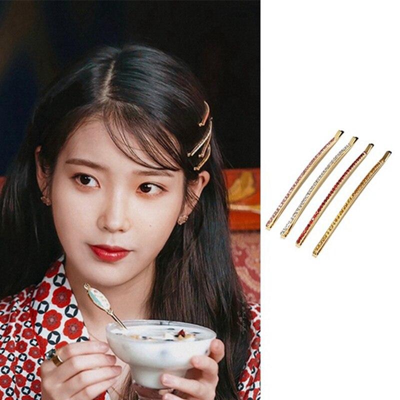 2019 Korean TV Drama Trendy Cute Shiny Rhinestone Barrettes Hairpins For Girl Female Daily Hair Jewelry
