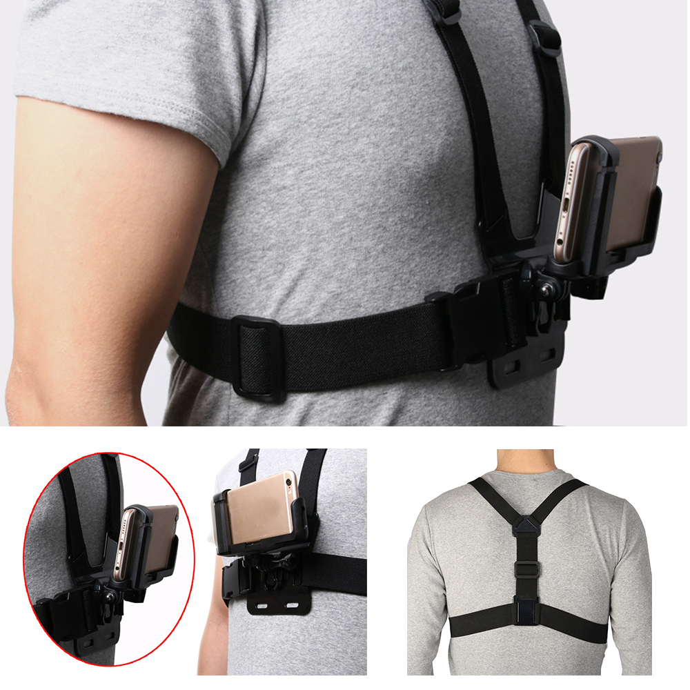 Portable Universal 6-8.5cm Width Mobile Phone Mount Holder+ Adjustable Clip Chest Harness Strap Cellphone For iPhone For Samsung