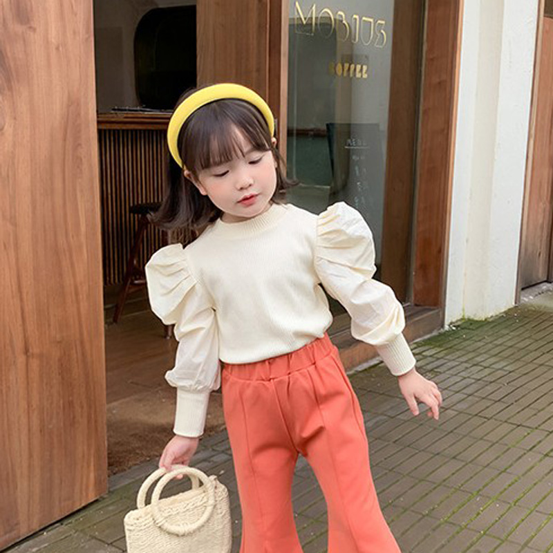 2021 Autumn New Arrival Girls Long Sleeve Cotton Tops Kids Puff Sleeve Candy Color T Shirt  Girls Top 1
