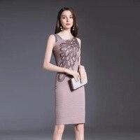 Plus Size 2020 High End Party Women Dress Ladies Elegant Sleeveless Embroidery Bandage Women Dresses Summer Office Bodycon Dress