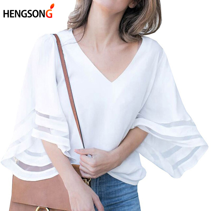Temperament Summer New Women Shirt Ladies Fashion Patchwork Blouse Female Casual Half Flare Sleeve Loose Solid Color Shirt