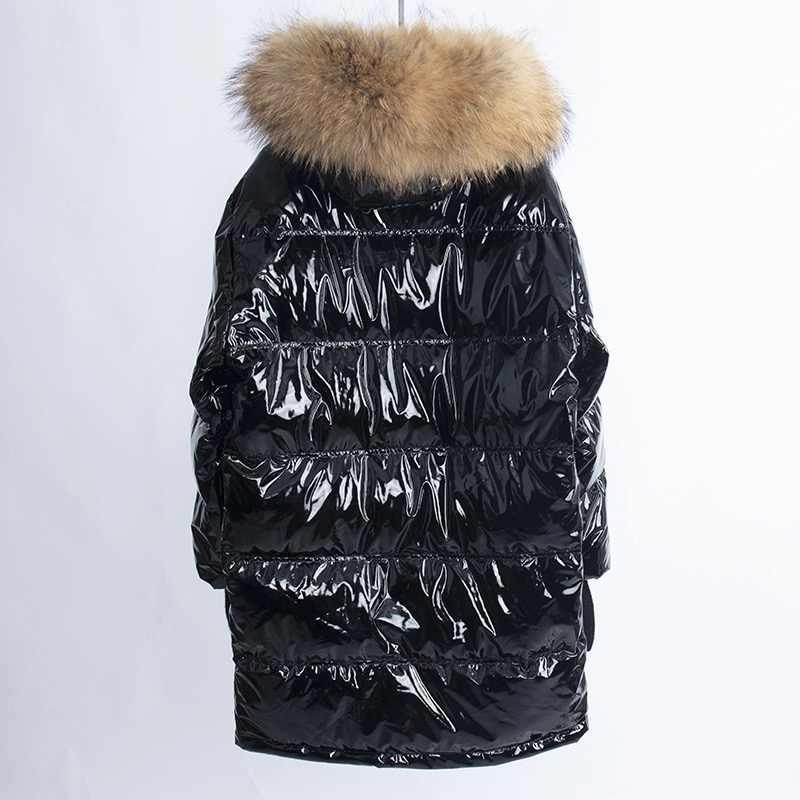 Womens Down Jassen Real Bontkraag Capuchon Lange Jas Vrouwen 2019 Winter Dames Down Jas Plus Size Losse Glossy Jassen uitloper