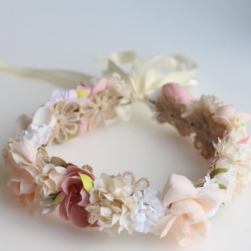 Women Beach Beige Pink Flower leaf Hair Headband Garland head crown Headpiece
