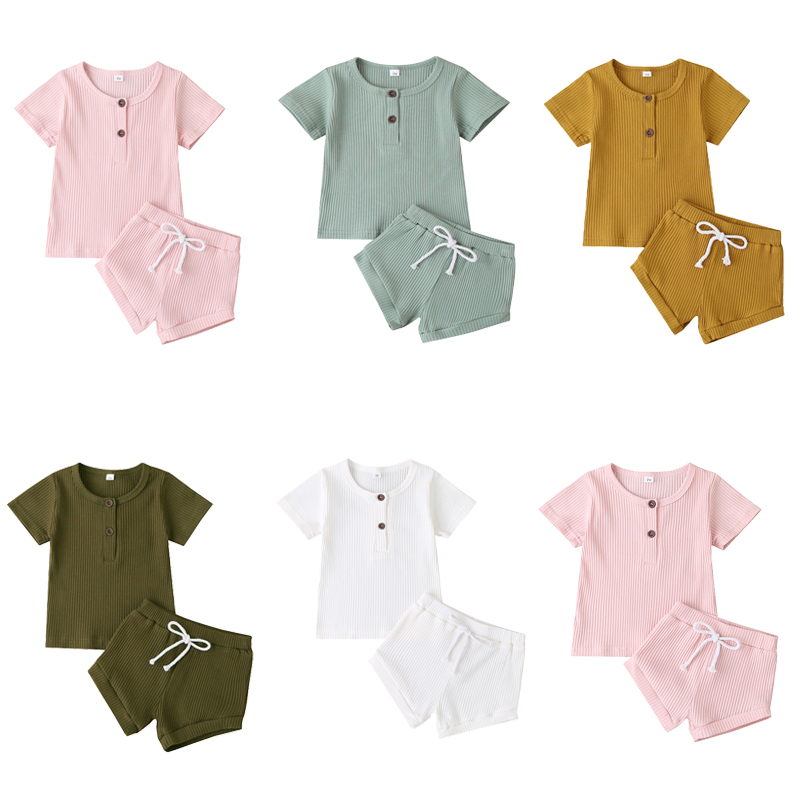 Cotton Casual Summer Newborn Baby Boys Girls Outfits Suit Ribbed Knitted Short Sleeve T shirts Tops+Shorts 2Pcs Kids Tracksuits