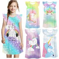 Vestido de noche de princesa para niñas, ropa de casa, pijama de unicornio para bebé, camisón suelto informal de dibujos animados, bata de dormir para niña
