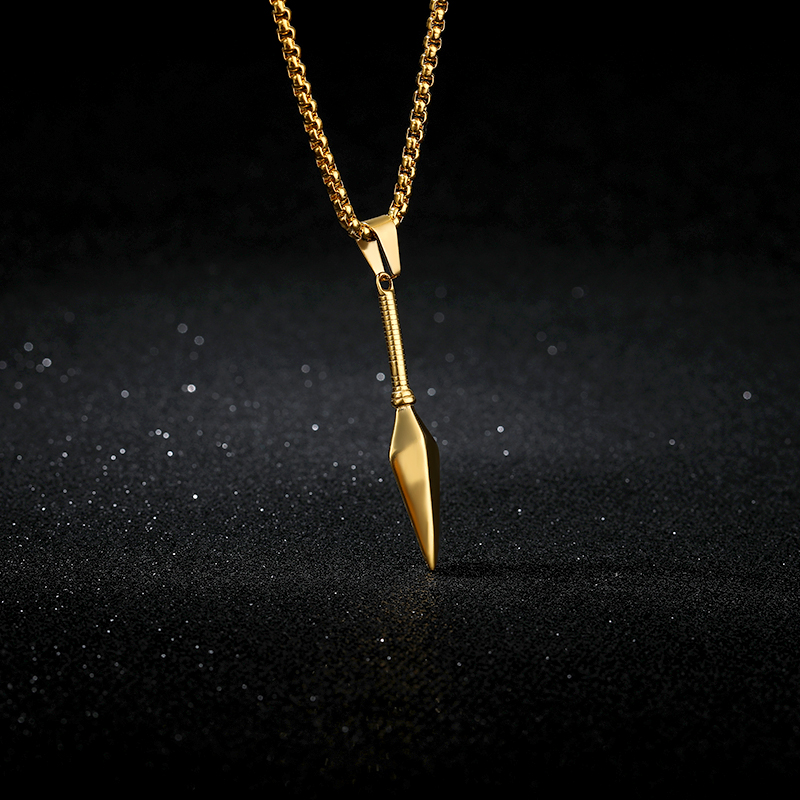 Spear Pendant Necklace for Men Jewelry Stainless Steel Gold <font><b>Ketting</b></font> Long Chain Choker For Male Party Jewelry Gift <font><b>BFF</b></font> image