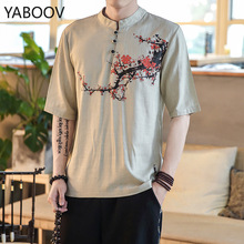 Chinese Style T Shirt Plum Blossom Printed Tshirts Cotton and Linen Men Casual Half Sleeve Tops Tees Summer Male T Shirts 5XL