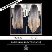 Bant gerçek Remy insan saçı postiş 2.5 g/adet 16 18 20 22 inç avrupa platin sarışın renk yapışkanlı saç uzatma 20pc