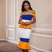 Ocstrade 2020 חדש כניסות תחבושת שמלות כבויה סלבריטאים תחבושת שמלות צהוב Midi Bodycon בת ים מפלגת שמלות