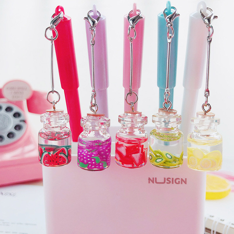 1Pc Cute Fruit Gel Pen Creative Bottle Pendant Gel Pen Kawaii Neutral Pen For Kids Girls Gifts School Office Supplies Stationery