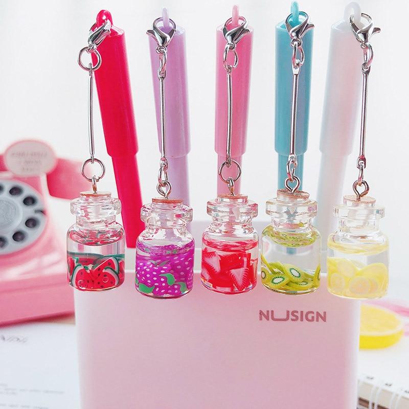 1Pc Cute Fruit Gel Pen Creative Bottle Pendant Gel Pen Kawaii Neutral Pen For Kids Girls Gifts School Office Supplies Stationery