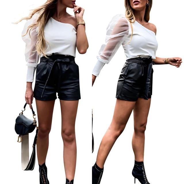 Women Leather Shorts England Style Bottoms Black Short Mujer Casual PU Leather Shorts feminino Sexy High Waist Shorts with Belt 5