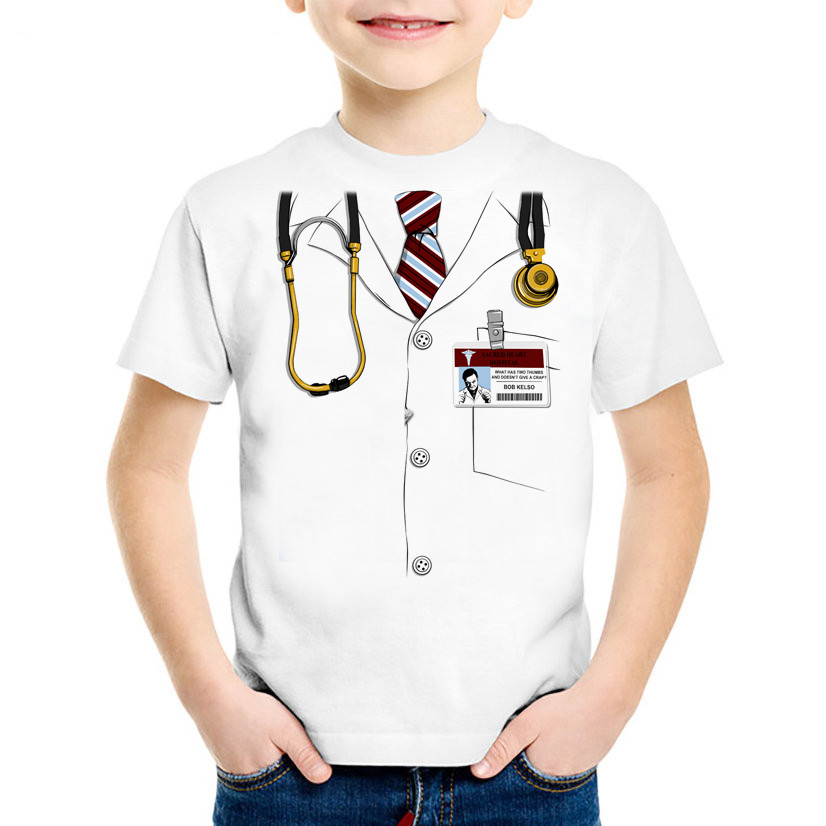 T-shirt Boy Top Girl Child T-shirt Simulation Doctor Printing Summer Casual Funny Short-sleeved Unisex Girl T-shirt Kid Clothes