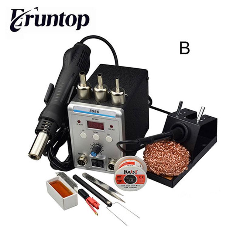 New Eruntop 8586  Electric Soldering Irons +DIY Hot Air Gun Better SMD Rework Station