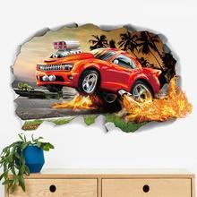 Creative 3D Car PVC Wall Sticker Decor Background Bedroom Living Room Home Decal Removable wall sticker  Environmental  friendly