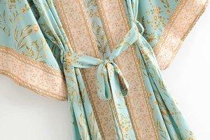 Image 3 - Đầm sang trọng nữ xanh in hoa tay cánh dơi Rayon bãi biển Bohemia Áo choàng kimono Nữ cổ V tất Boho Đầm vestidos