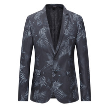 Mens Black Leaf Blazer Jacket 2020 Brand New Single Breasted Two Button Suit