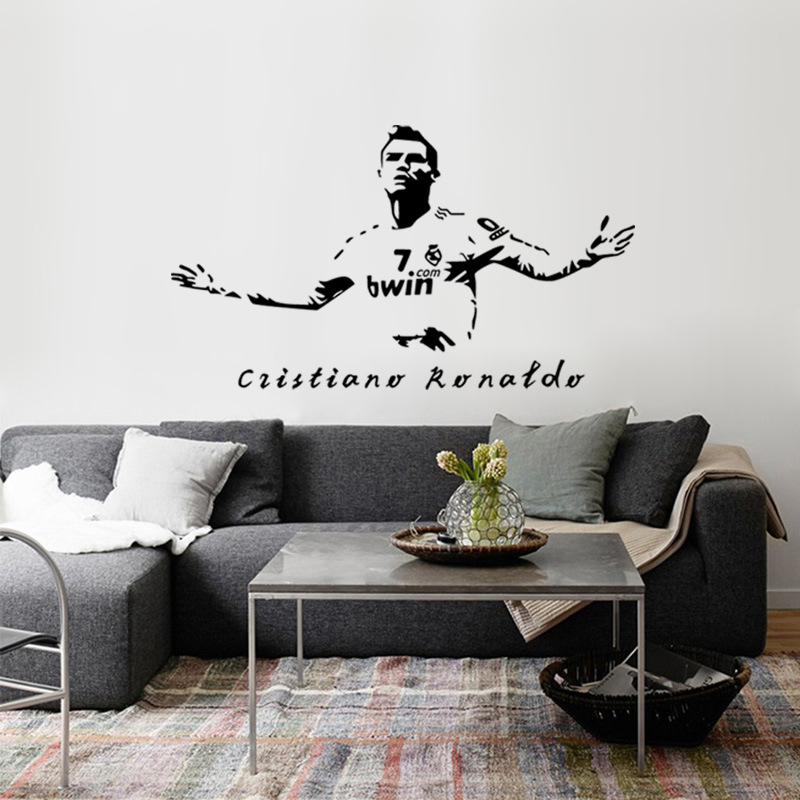 Cr7 Football Player Cristiano Ronaldo Art Decal Wall Stickers For Boys Kids Room Decor Soccer Wall Decals Sticker