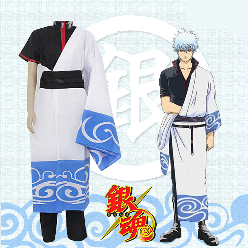 Japanese Anime Gintama /Silver Soul Costume sakata gintoki costumes cosplay Full set Robe Comic fancy dress with belt
