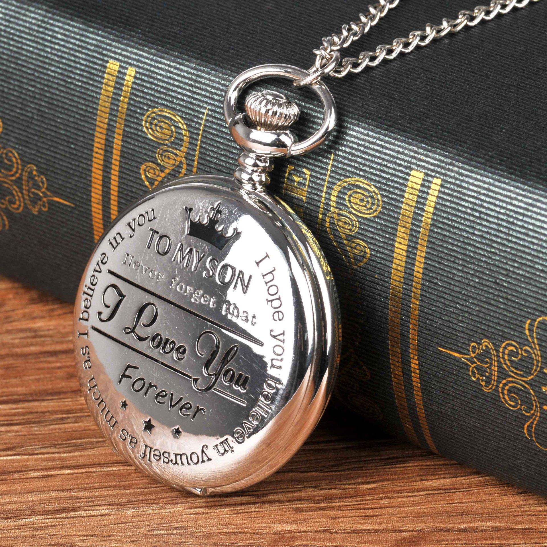 To my Son Quartz Pocket Chain Watch