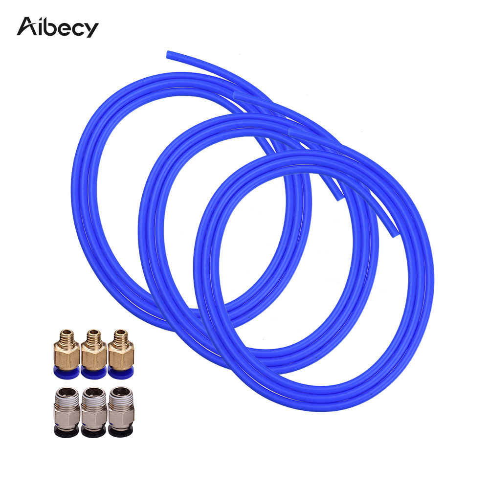 Upgrade PTFE Teflon Tube 1 Meter,3PCS PC4-M6 Quick Fitting and 1PC PC4-M10 Straight Pneumatic Fitting for Creality Ender 3 Pro CR-10//CR-10S,S4,S5