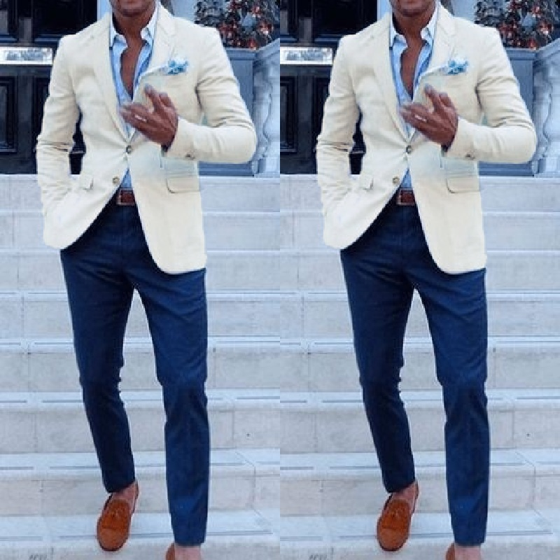 Cheap Custom Made Men Suits For Wedding Groom Tuxedos Classic Outfit Man Blazers 2 Pieces Groomsmen Wear (Ivory Jacket+bluepant)