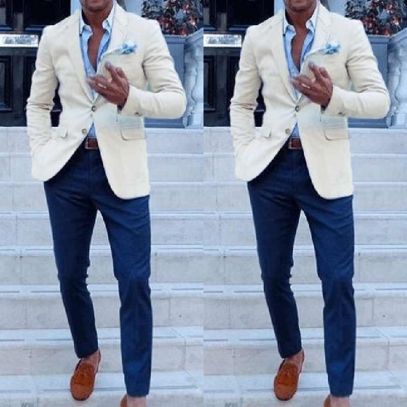 Goedkope Custom Made Mannen Pakken Voor Bruiloft Bruidegom Smokings Klassieke Outfit Man Blazers 2 Stuks Bruidsjonkers Dragen (Ivoor Jas + Bluepant)