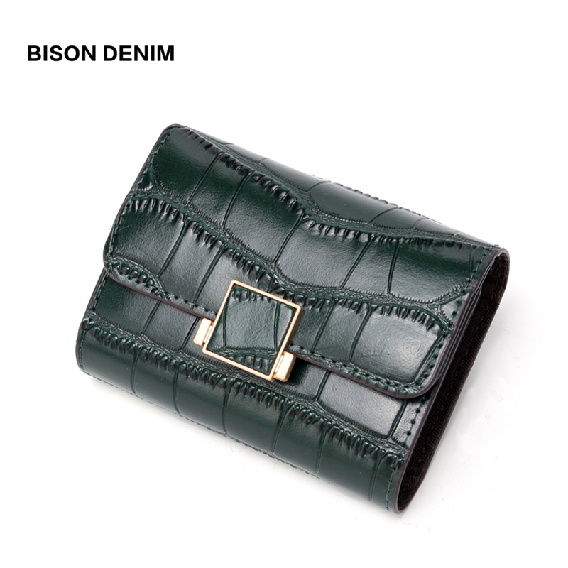 BISON DENIM Cow Leather Women Wallets ID Card Holder Ladies Wallet Coin Pocket Short Small Purses High Quality B3283