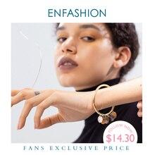 Enfashionナチュラル巻き貝タグ女性ゴールドカラーのステンレス鋼チャームバングルファッションジュエリーB192059