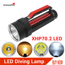 High Lumens LED Flashlight XHP70.2 Diving Flashlight Torch 26650 32650 XHP70 Yellow/White Light Spearfishing led Diving Lamp