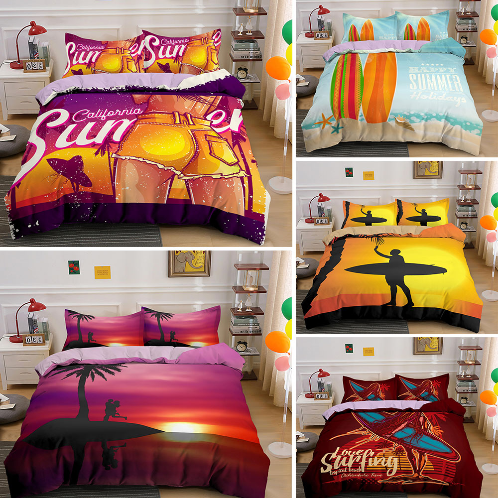 Luxury Bedding Sets Sunset Surfing Duvet Cover Set Queen/King Size 2/3 PCS Quilt Covers Bed Linen With Pillowcase