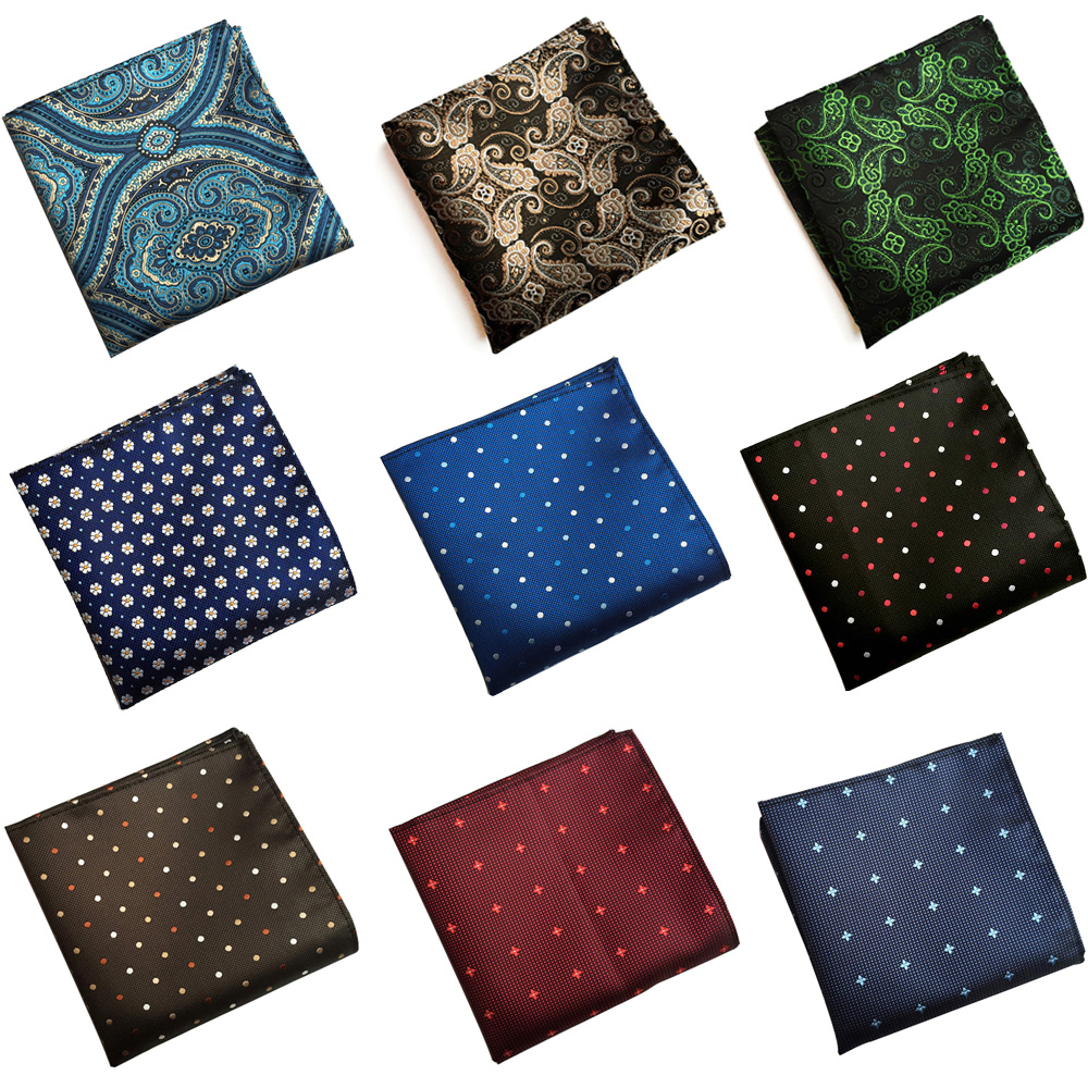 Mens Handkerchief Polka Dots Paisley Printed Hanky Wedding Party Pocket Square