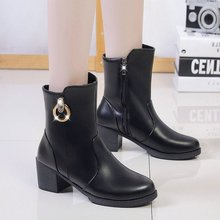 New Women's Martin Boots Autumn Winter Genuine Leather Boots Woman Basic High Top Ankle Boots Booties Pump Med Heels Shoes knsvvli new genuine leather ankle boots women chunky high heels pointed zip martin boots metal buckle decorate woman booties