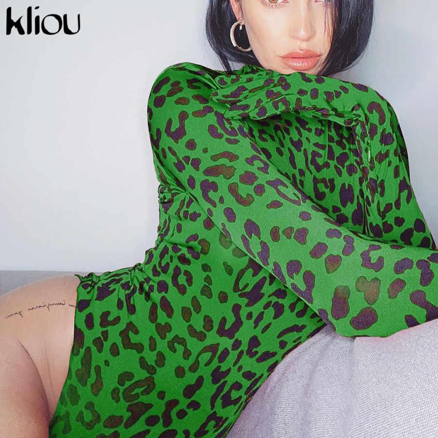 Kliou de neón de leopardo de las mujeres traje de manga larga con guantes 2019 Otoño e Invierno básica de cuello alto mono cuerpo Muje
