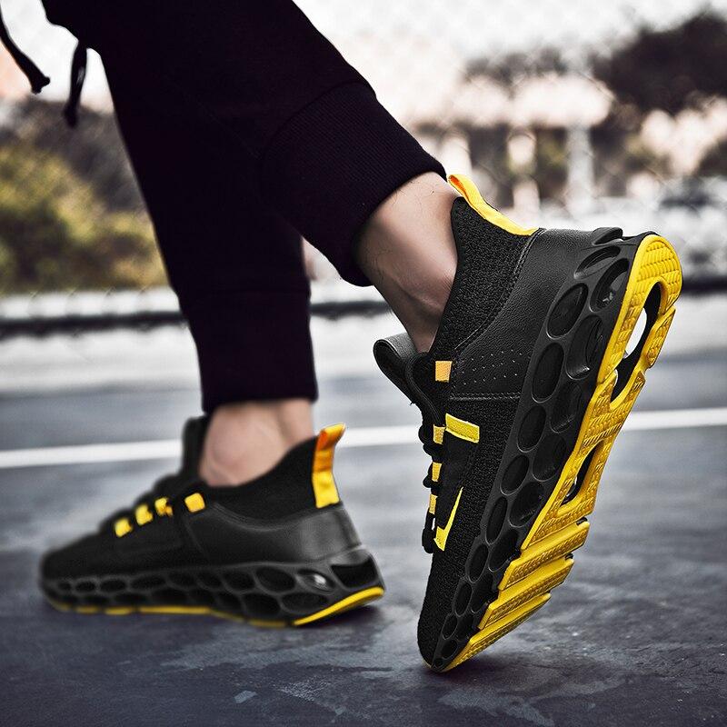 Ventes directes d'usine de nouvelles chaussures de course à lame maille chaussures de sport respirantes hommes tendance chaussures décontractées absorption des chocs spéciale