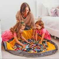 Portátil crianças saco de armazenamento de brinquedo e jogar esteira lego brinquedos organizador cordão bolsa moda prático sacos de armazenamento