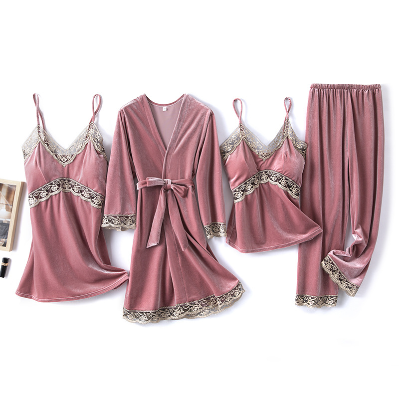 2020 Gold Velvet 4 Pieces and 5 Pieces Warm Winter Pajamas Sets Women Sexy Lace Robe Pajamas Sleepwear Kit Sleeveless Nightwear 6