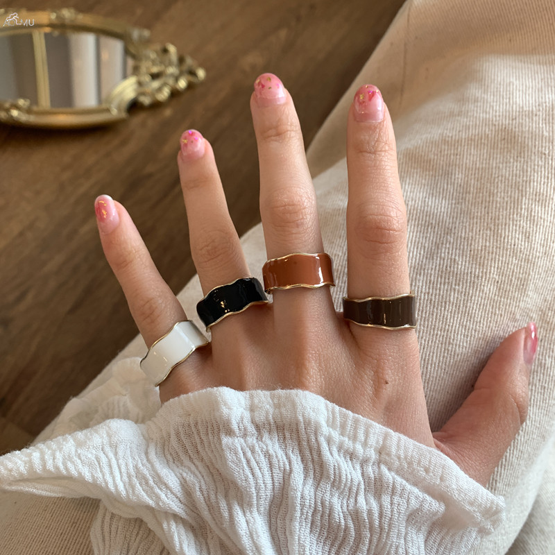 Женское винтажное эмаль-кольцо AOMU, открытое геометрическое круглое металлическое эмаль круглой формы в Корейском стиле, 1 шт.